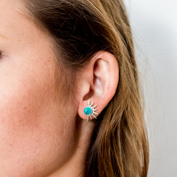TOTAL ECLIPSE TURQUOISE SILVER STUD EARRINGS