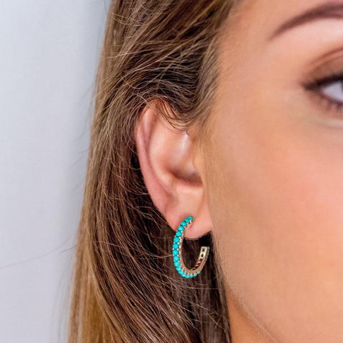 Halo Radiance Turquoise and silver hoops