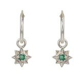 Guiding North Star Silver Emerald Hoop Earrings