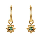 GUIDING NORTH STAR MINI HOOPS - GOLD EMERALD