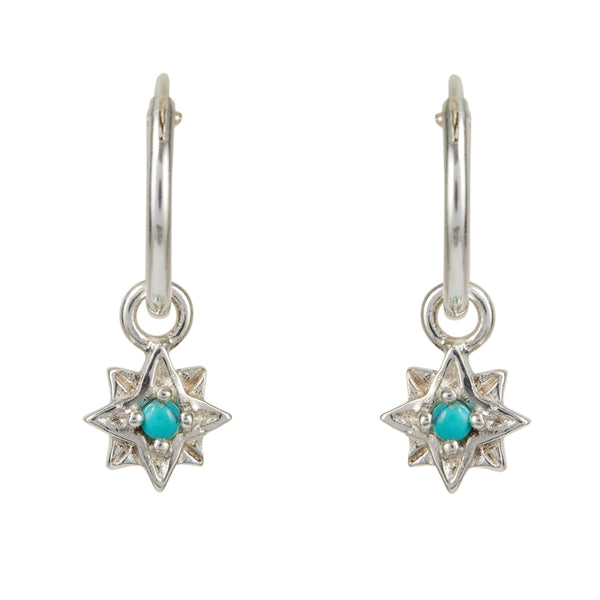 GUIDING NORTH STAR MINI HOOPS - TURQUOISE