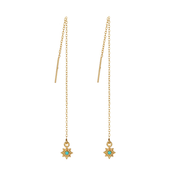 Guiding North Star Threader Earrings - Turquoise