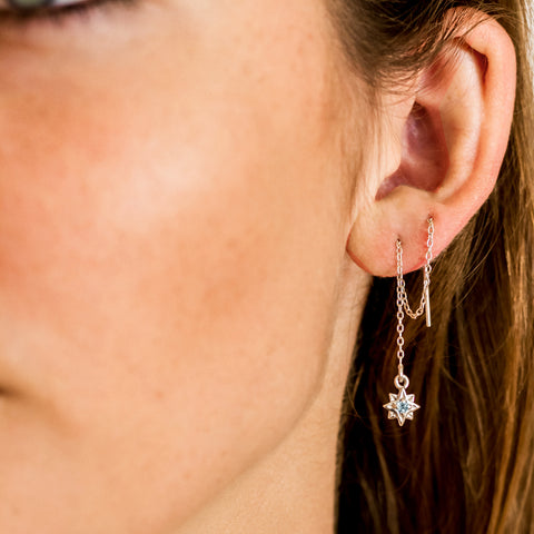 GEMSTONE STAR THREADER EARRINGS
