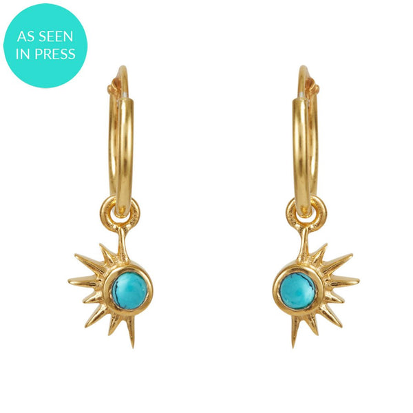 Total Eclipse Hoops - Gold Turquoise