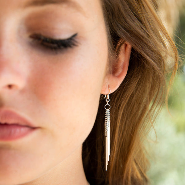 Silver Waterfall Drop Earrings
