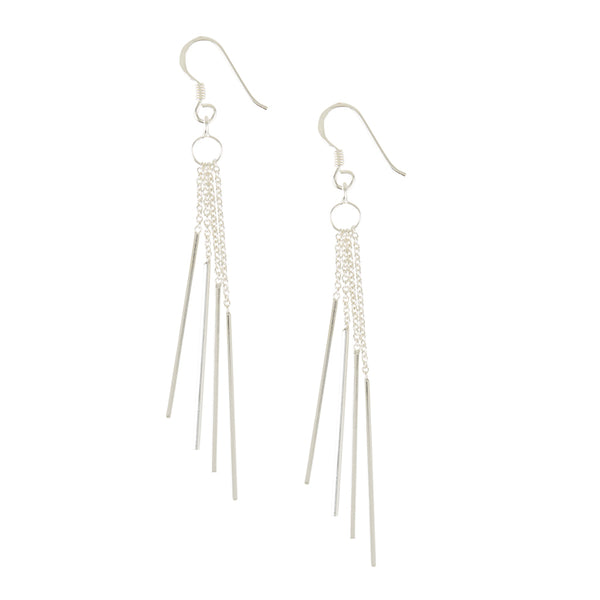 Silver Windchime Waterfall Drop Earrings