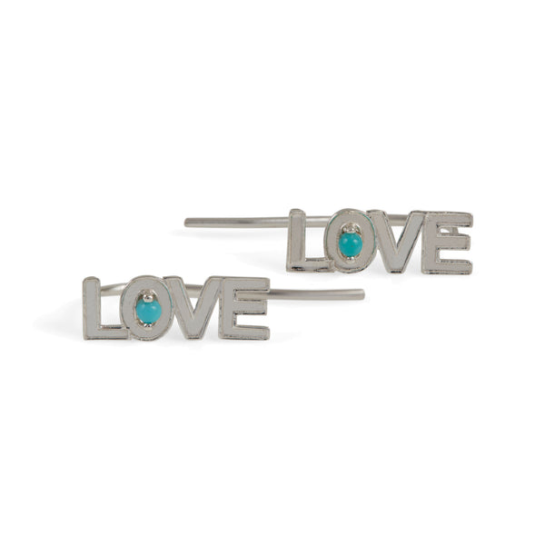 LOVE ROCKS SILVER EAR CLIMBERS