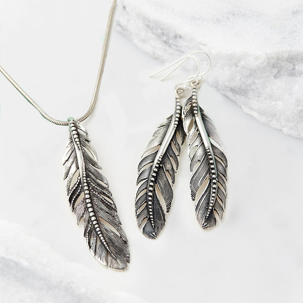 Freedom Feather Necklace and Earrings Set