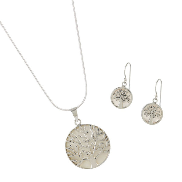 TREE OF LIFE HEALING NECKLACE AND EARRING SET MOTHER OF PEARL