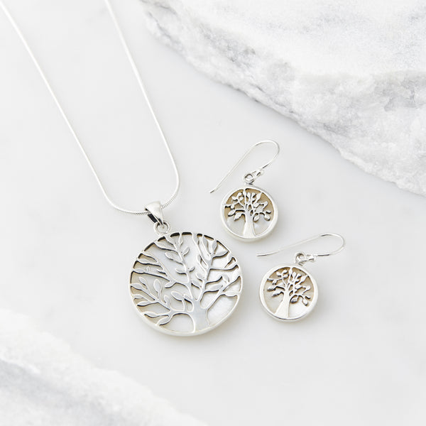 Tree of Life Healing Necklace and Earring Set - Mother of Pearl