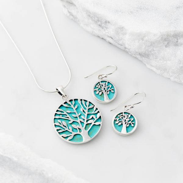 Tree Of Life Healing Necklace and Earring Set Turquoise