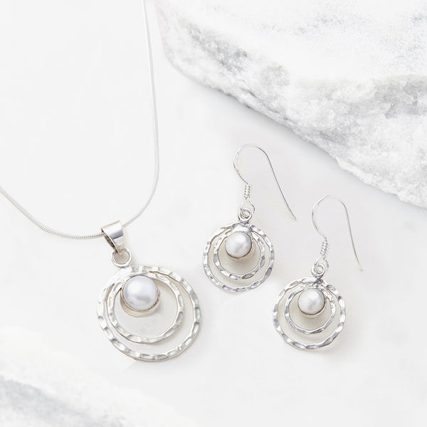 infinity universe necklace and earrings set