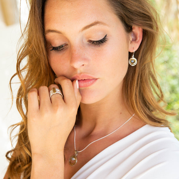 Infinity Universe Necklace and earrings - Moonstone