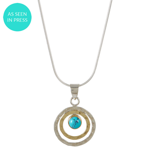 INFINITY UNIVERSE NECKLACE - TURQUOISE MIXED METAL