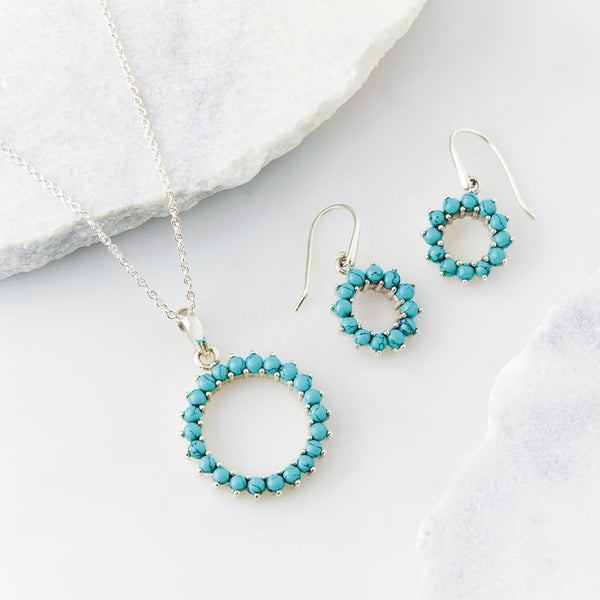 Halo Radiance Turquoise Necklace and Hoop Earrings