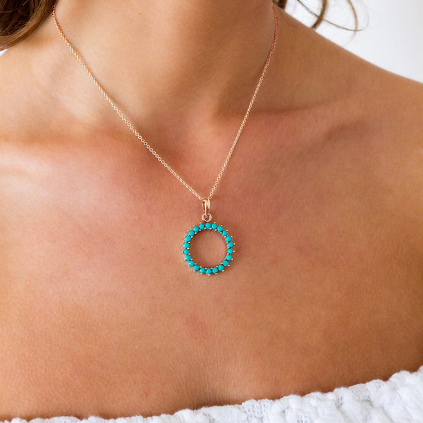 Turquoise Pave Set Gold Necklace