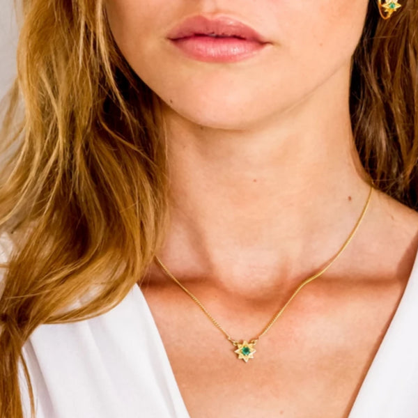 Guiding North Star Necklace - Gold and Emerald