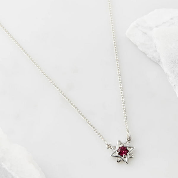 Guiding North Star Necklace - Rhodolite