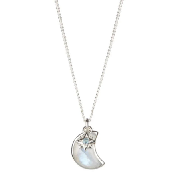 CELESTIAL CRESCENT NECKLACE - BLUE TOPAZ