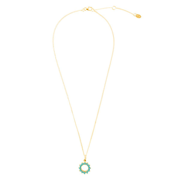 Halo Radiance Gold Turquoise Necklace