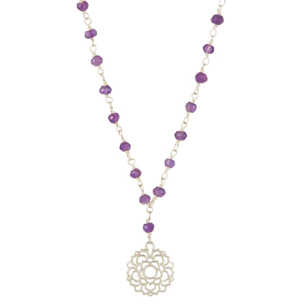 CROWN CHAKRA GEMSTONE NECKLACE SILVER