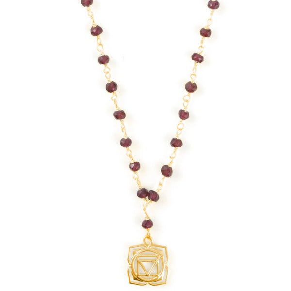 ROOT CHAKRA GEMSTONE NECKLACE GOLD