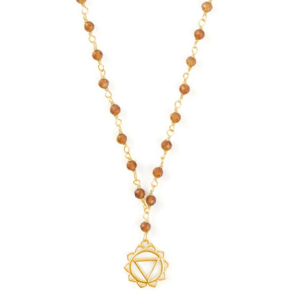 SOLAR PLEXUS CHAKRA GEMSTONE NECKLACE GOLD