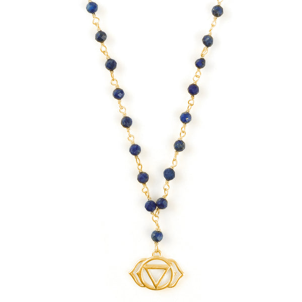 THIRD EYE CHAKRA GEMSTONE NECKLACE GOLD