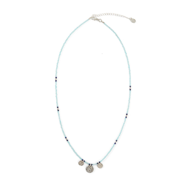 SILVER & TURQUOISE STONE COIN NECKLACE