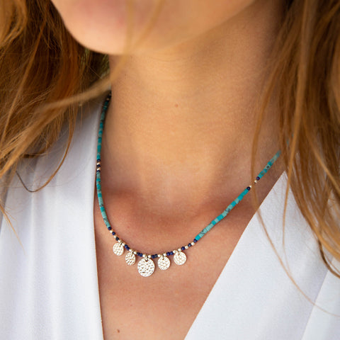 TURQUOISE SILVER COIN NECKLACE