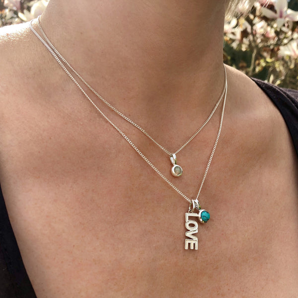 Love necklace with Turquoise and Opal Birthstones