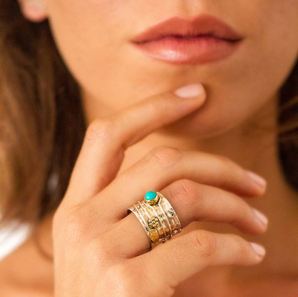 SECRET GARDEN RING - TURQUOISE - NEW DESIGN
