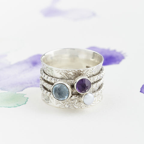 Precious Stone Silver Spinning Ring