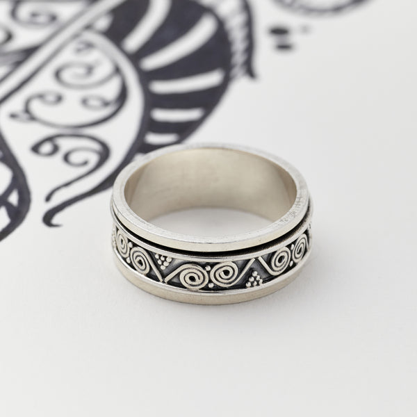 Sterling Silver Aztec Spin Ring for Men