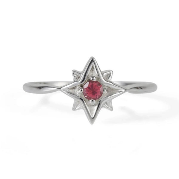 Guiding North Star Ring - Rhodolite