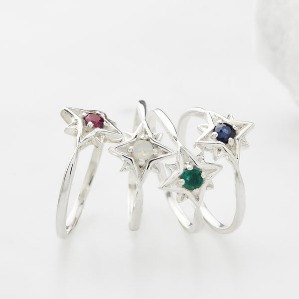 Gemstone Silver Star Stacking Rings