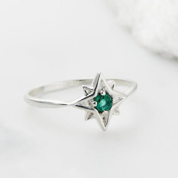 Guiding North Star Ring - Emerald