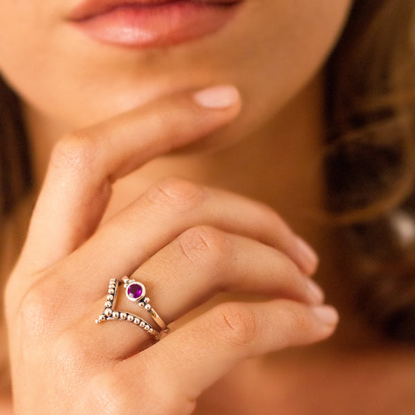 Holi Jewel Stacking Ring - Amethyst