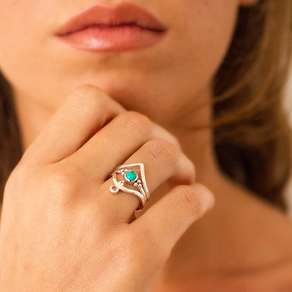 Holi Jewel V Stacking Ring - Blue Topaz