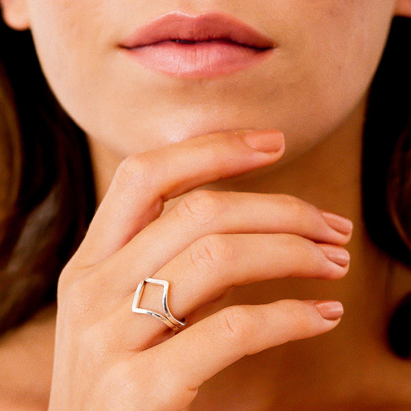 Silver Wishbone Stacking Rings