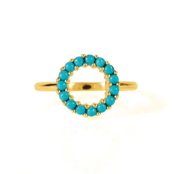 Halo Radiance Turquoise Ring Gold