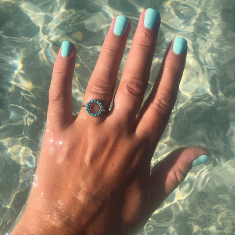 Halo Radiance Silver Turquoise pave ring
