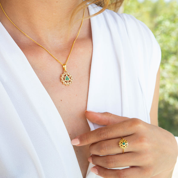 HEART CHAKRA RING & NECKLACE GOLD