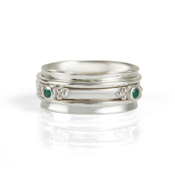 Rajalita Love Emerald Spinning Ring
