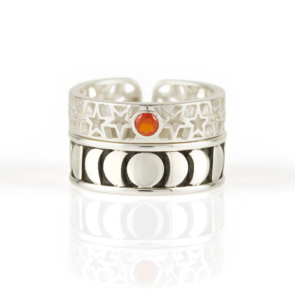 Amber Star Carnelian Toe Ring & Moon Phase Toe Ring