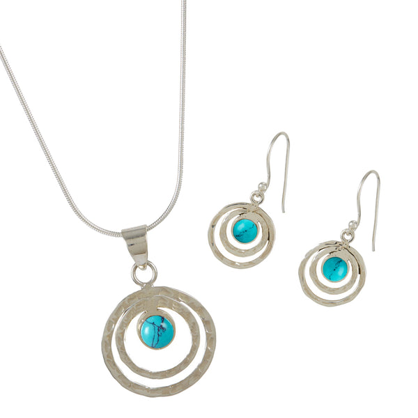 Infinity Universe Necklace and earrings - Turquoise