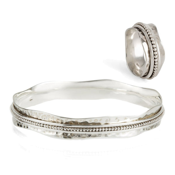 AURA HALO SPINNING RING AND BANGLE SET