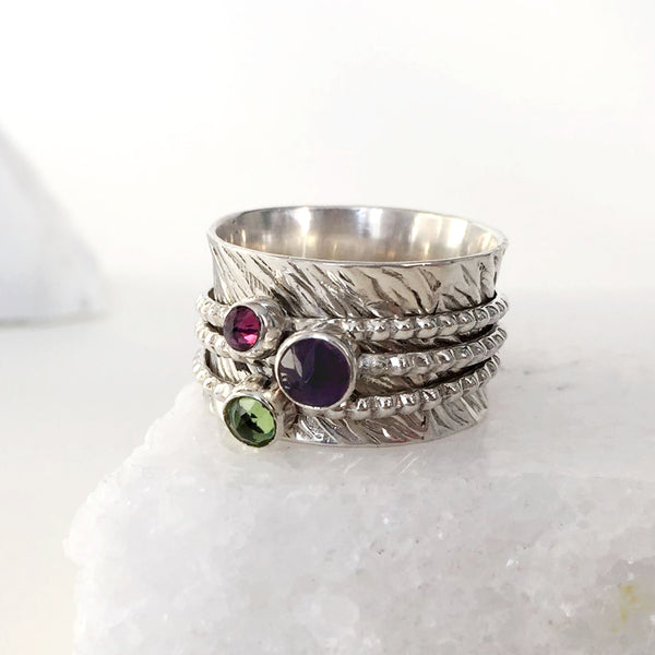 Love Rocks Spinning Ring - Amethyst, Peridot and Rhodolite