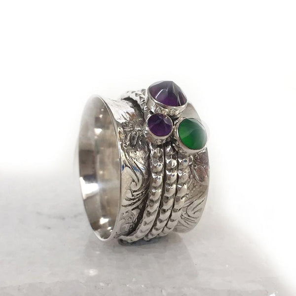 Gemstone Chunky Spinning Ring