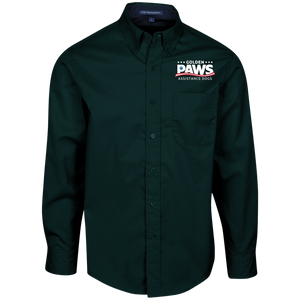 Golden PAWS Embroidered Logo Men's Button-Down (Dark Colors)